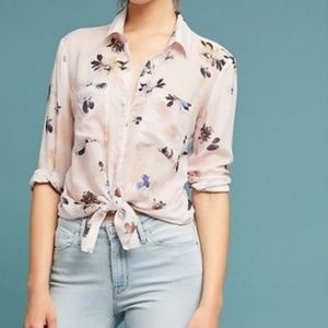 {Anthro} cloth and stone TAVIRA floral blouse m